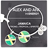 Alex and Ani Jamaica Flag Silver Enamel Charm Bangle Bracelet