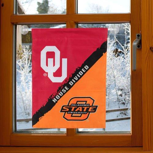 Oklahoma House Divided (NCAA Oklahoma-Oklahoma State 2-Sided Garden Flag-Rivalry House)
