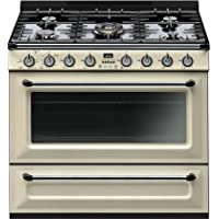 Smeg TRU36GGP 36 Gas Freestanding Range with 5 Burners, in Cream Enamel