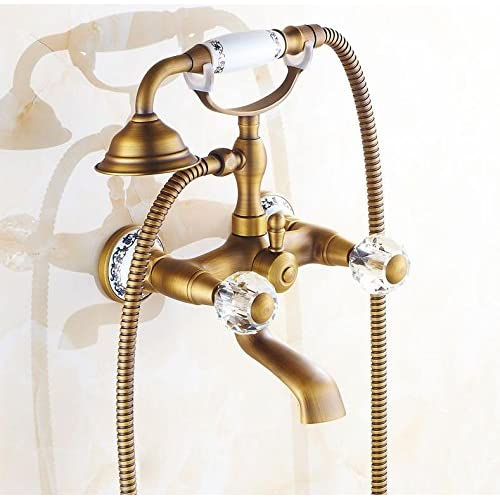 SAEKJJ-Antique Copper Bathtub Shower Faucet Shower Faucet Hot And Cold Water Mixing Valve Triple Bathroom faucet durable service