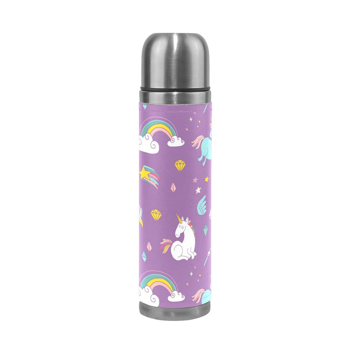 FFY Go Taza de Viaje con dise/ño de Unicornio de Acero Inoxidable a Prueba de Fugas Color Morado 500 ml Botella de Agua aislada Regalo para ni/ños y ni/ñas