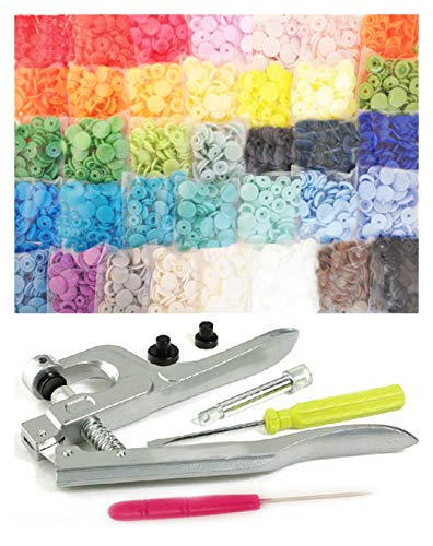 Commercial-Grade KAMsnaps 37-Color Starter: 370 Sets Size 20 T5 KAM Snaps KAM Pliers Press Plastic Snap-On No-Sew Buttons Fasteners Installation Attach Setter Setting Tool White Black