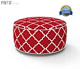 FBTS Prime Outdoor Inflatable Ottoman Red Round Patio Foot Stools and Ottomans Suitable for Kids and Adults Portable Travel Footstool Used for Outdoor Camping Home Yoga Foot Rest