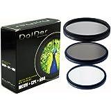 Dolder 77mm HD Multicoated/ Mehrfachbeschichteter 3 in 1 Filtersets inkusive UV, Zircular POL, ND-8 mit Filtertasche aus Nylon
