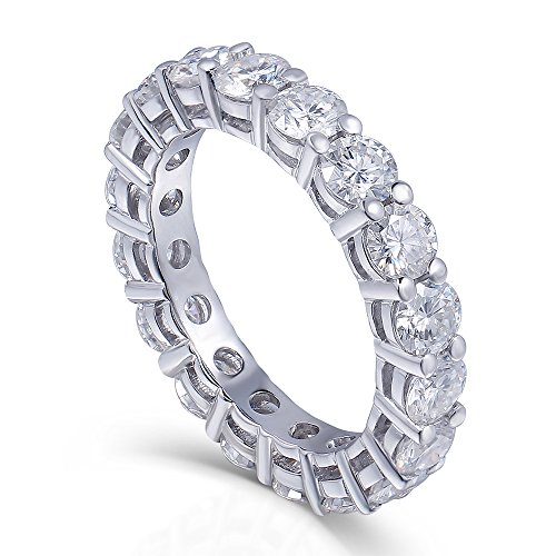 TransGems 2-2.5 CTW F Color Moissanite Simulated Diamond Eternity Engagement band 14K Gold for Women (0.1 Ct Wedding Band)
