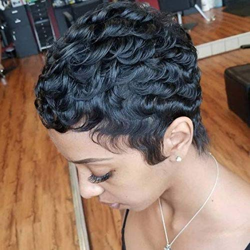 RUISENNA 100% Human Hair Short Curly Wigs For Black Women Pixie Wig Big  Curls Short Wig