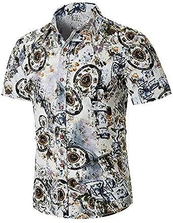 WOVELOT Camisas Para Hombre Verano Moda Casual de Impresión Delgado Solapa Tendencia Camisa de Flores de Manga Corta Vacaciones Ropa de Vacaciones Negro M: Amazon.es: Ropa y accesorios