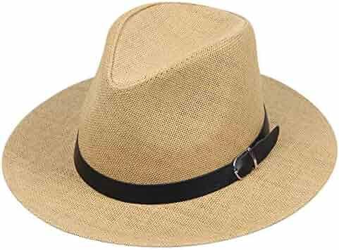 860a07e7103ec6 Yamally Hats for Men,Unisex Ethnic Felt Fedora Hat Wide Brim Panama Hats  Classic Jazz