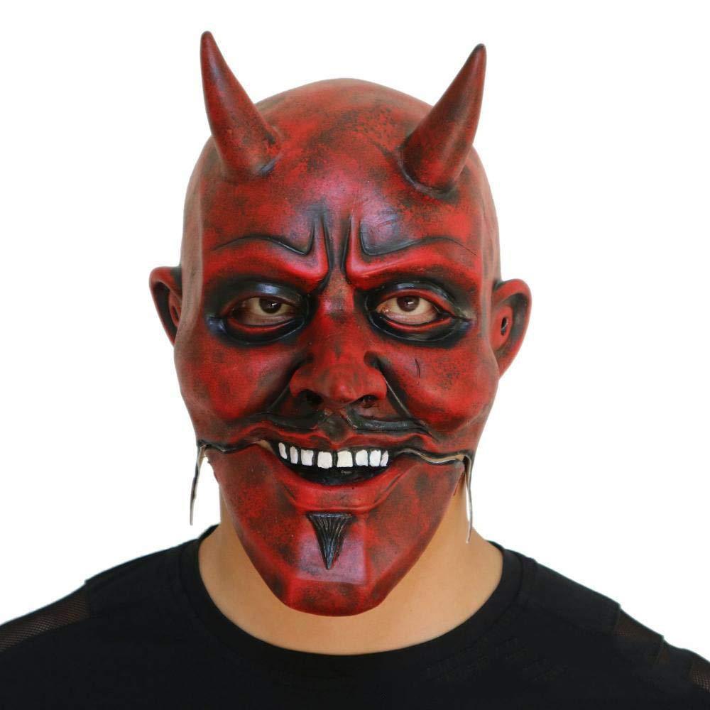 Circlefly Halloween maschera facciale rosso demone parrucca Masquerade travestimento maschera adulto di lattice parrucca