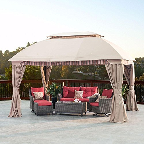 Suburban 10 Ft X 13 Ft Gazebo With Full Length Mosquito Netting And Privacy Curtains Gazebos