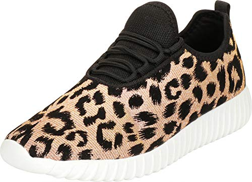 (Cambridge Select Women's Lightweight Lace-Up Casual Sport Fashion Sneaker,8.5 B(M) US,Champagne Leopard Glitter)