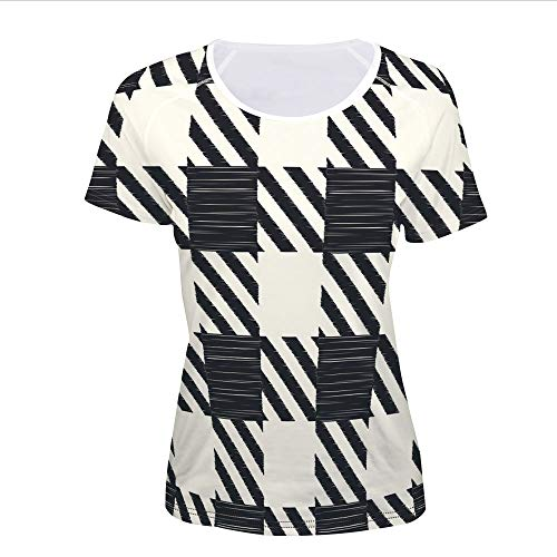 Women's T-Shirt,Squares Monochrome Sketchy Geometric Grid Revival,Pictures Print