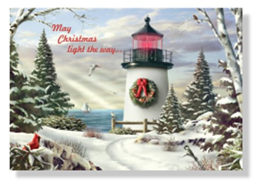 Designer Greetings Red Farm Studio - Boxed Christmas Cards Nautical/Coastal Design; Snowy Lighthouse