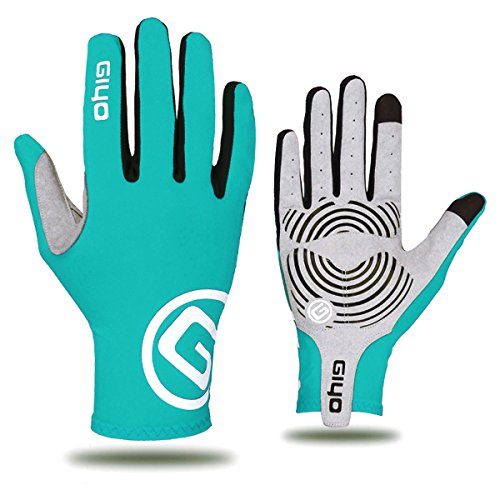 FEESHOW Full Finger Cycling Gloves Breathable Touch Screen Biking Gloves MTB Gloves, Gel Padded, Anti-Slip Glove for Road Racing Bicycle, for Men, Women Light Blue Small