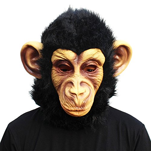 [CreepyParty Novelty Halloween Costume Party Animal Head Mask - Chimp] (Monkey Head Costume)