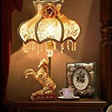 HH European Style Retro Style Bedside Bedroom Living Room Fabric Luxury Table Lamp