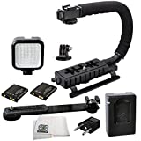 Professional LED Video Light & Stabilizing Grip Package for GoPro Hero3 Hero3+ Hero4 & GoPro HERO5