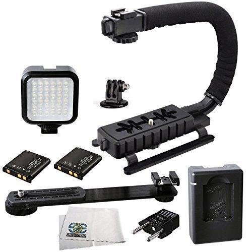 Professional LED Video Light & Stabilizing Grip Package for GoPro Hero3 Hero3+ Hero4 & GoPro HERO5 by SSE
