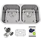 VAPSINT Best Commercial 32 1/4 Inch 18 Gauge 9   Deep 50/50 Undermount Double Bowl Stainless Steel Kitchen Sink...