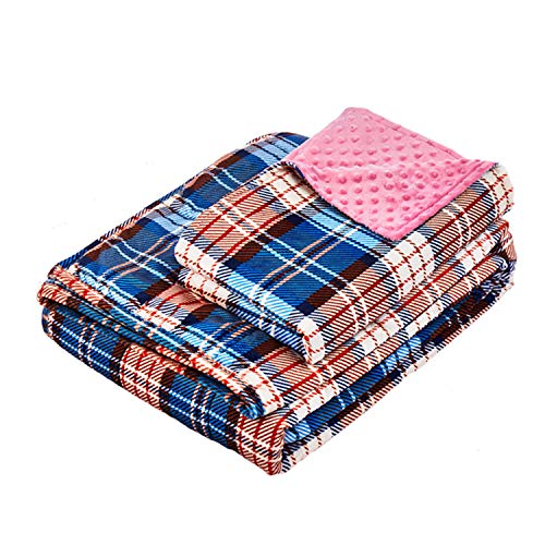 Cheap YnM Minky Weighted Blanket   15lbs 48 x 72 Twin Size Suit for One Person( 140lbs)   2.0 Fuzzy Sensory Heavy Blanket   Ultra-Soft Minky Material with Glass Beads Pink Plaid Print & Pink Dots Black Friday & Cyber Monday 2019