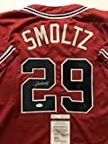 Autographed/Signed John Smoltz Atlanta Braves Red Baseball Jersey JSA COA
