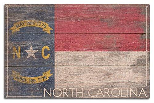 Lantern Press Rustic North Carolina State Flag (10x15 Wood Wall Sign, Wall Decor Ready to Hang)