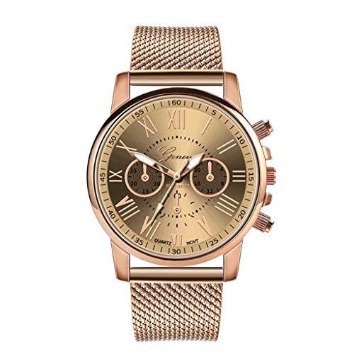 (Rape Flower Luxury Quartz Sport Military Stainless Steel Dial Leather Band Wrist Watch (Beige))