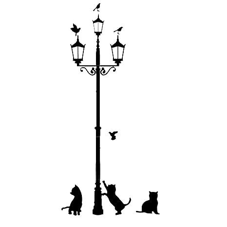 SODIAL(R) DIY Wallpaper Mural Pegatinas de pared extraibles Vinilos adhesivos 3 gatos pequenos bajo la lampara de calle(negro)