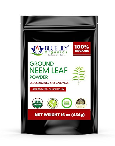Cheap Blue Lily Organics | Ground Neem Leaf Powder | Herbal Supplement | Natural Detox | Anti-Bacterial | Vegan, Non-GMO & Gluten Free | Great for Improving Immunity, Skin, Digestive Functions | 1Lb Bag