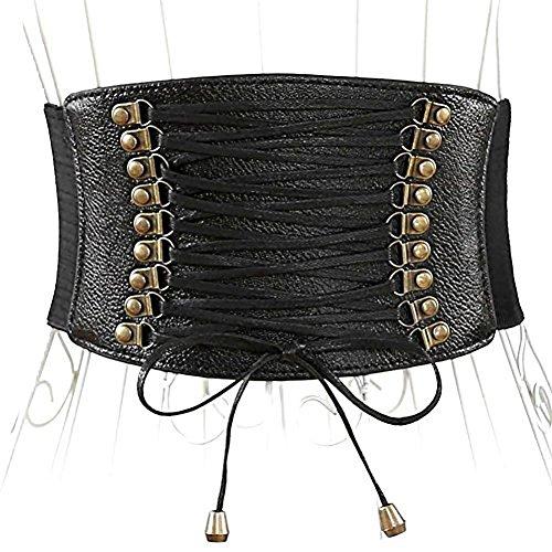 Buckle Wide Corset (Womens PU Leather Belt High Waist Cincher Belt Corsets for Waist Training Wide)