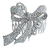 Sindary Wedding Headpiece 4.13 Inch Silver-tone Clear Rhinestone Crystal Bowknot Hair Comb