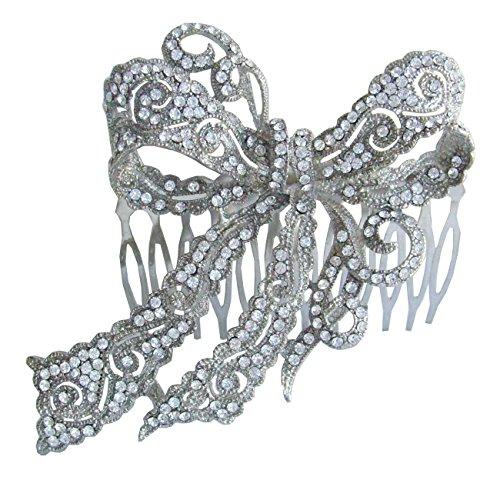 Sindary Wedding Headpiece 4.13 Inch Silver-tone Clear Rhinestone Crystal Bowknot Hair Comb by Sindary Jewelry