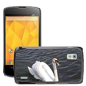 Etui Housse Coque de Protection Cover Rigide pour // M00115763 Cisne White Bird lago pluma // LG Nexus 4 E960