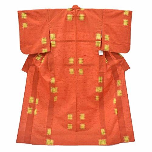 パール乳金銭的ウール 着物 リサイクル 中古 小紋 オレンジ系 幾何学文様 身丈164cm Lサイズ 裄66.5cm Lサイズ ll0395c