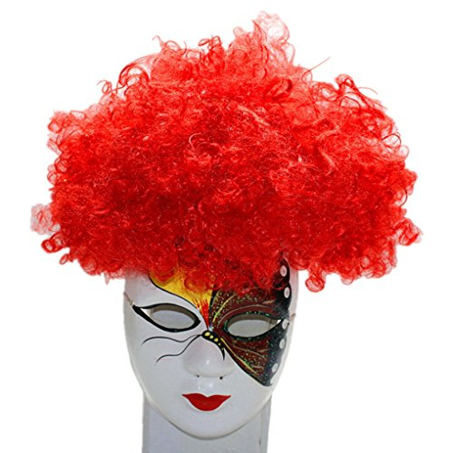 Longlove Cosplay Wig Halloween Hair Colorful Clown WIg Kids Adult Party Wig (gules)