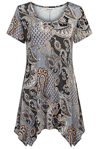Nandashe Plus Size Floral Tunics, Elegance Oneck Short Sleeve Knit Fitting Embellished Sparkly Blouses to Wear with Denim Capris Brown XXL