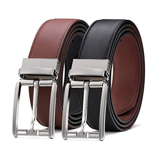 Mens belt Genuine Leather Reversible Dress Belt for Men with Rotated Buckle Trim to Fit