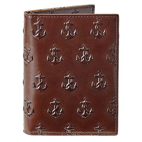 Jack Spade Chocolate Brown Embossed Anchor Passport Wallet by Jack Spade
