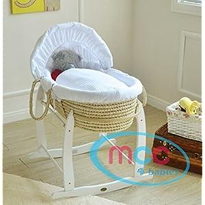 MCC Ensemble couffin en palmier naturel avec habillage couleur blanche 100% Coton gaufré & pied de couffin à bascule
