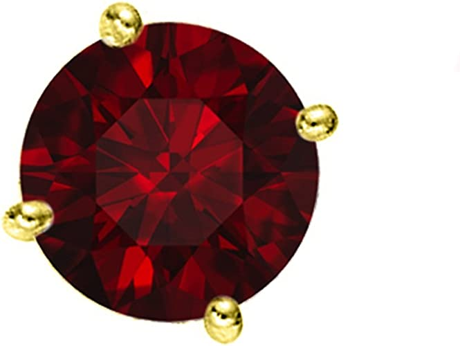 14K Solid Yellow Gold 4MM Ruby With 3.5MM Cz Telephone Earrings.