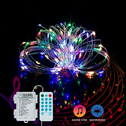 Music Activated Led (YOZATIA 32.8ft Sound Activated Music LED String Lights, Waterproof Silver Wire Multicolor 100LEDs 12 Modes Battery Powered Fairy Lights with Remote Control for Home Party Birthday Wedding)