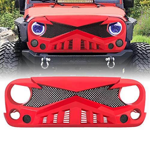 AMERICAN MODIFIED Front Hawke Grill for 07-18 Jeep Wrangler JK/JKU Rubicon Sahara Sport (Red)
