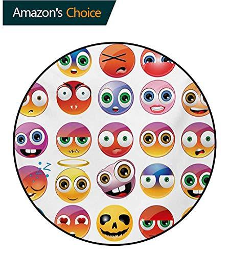 RUGSMAT Emoji Modern Washable Round Bath Mat,Rainbow Colored Cartoon Like Smiley Face Expressions Sad Happy Angry Fierce Art Print Non-Slip Bathroom Soft Floor Mat Home Decor,Diameter-47 Inch