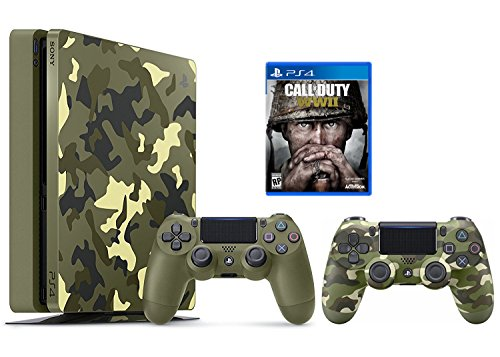 PlayStation 4 Slim Call of Duty WWII Bundle 2 Items PS4 Slim 1TB Limited Edition Console – Call of Duty WWII Bundle and an Extra camouflage Controller