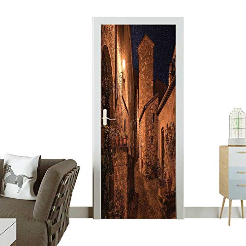 Door Sticker Wall Decals Street of Ancient Aged Antique Tuff City with Stone Houses Roman Cityscape Illuminated Easy to Peel and StickW38.5 x H79 INCH ()