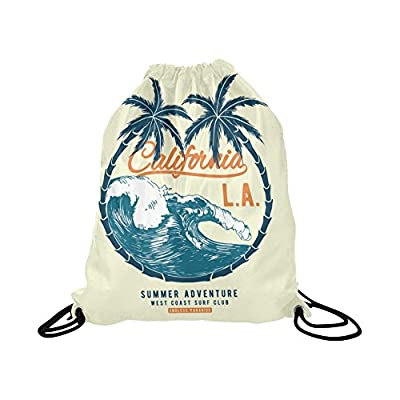 Classic Outdoor Zipper Drawstring Bag Palm Tree Printed Bundle Backpack for Men Women Unisex Multi-Function Backpack