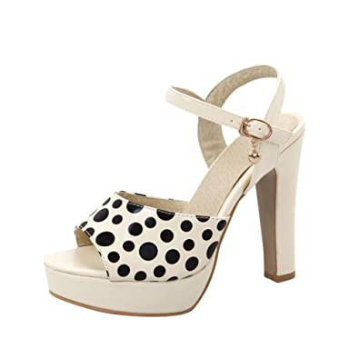 9d1129cbe068 Latasa Womens Cute Polka Dot Peep Toe Platform High Heel Ankle Strap Casual  Dress Sandals (