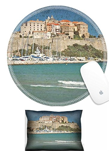 Luxlady Mouse Wrist Rest and Round Mousepad Set, 2pc Wrist Support The fortification of Calvi Corsica on a vintage postcard IMAGE: 26378920