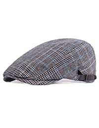 RICHTOER Newsboy Cap Beret Men Women Flat Caps Summer Cotton Plaid Hat Outdoors