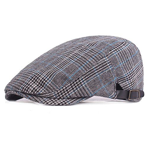 RICHTOER Newsboy Cap Beret Men Women Flat Caps Summer Cotton Plaid Hat Outdoors (Color 2)